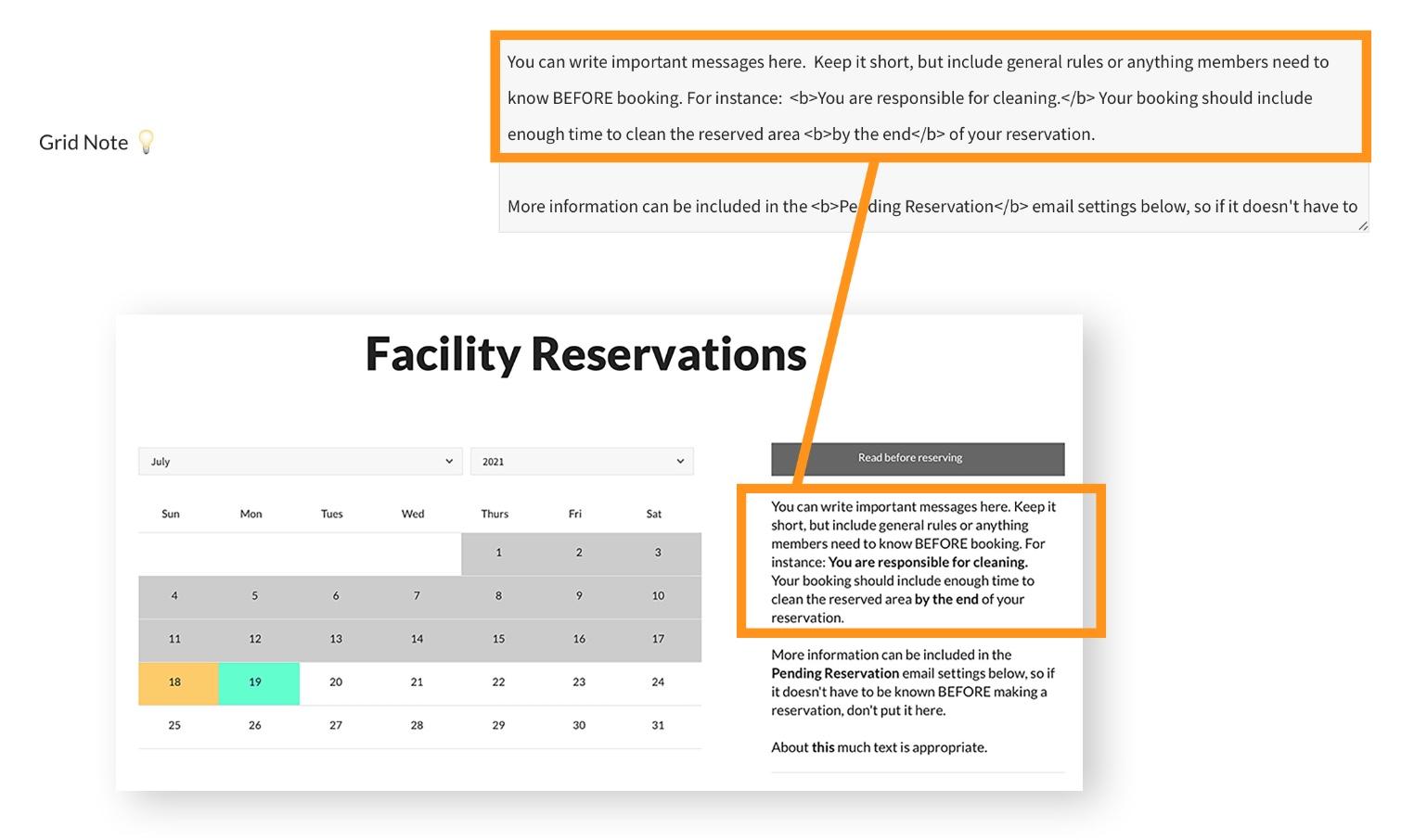 pooldues facility facilites settings grid note