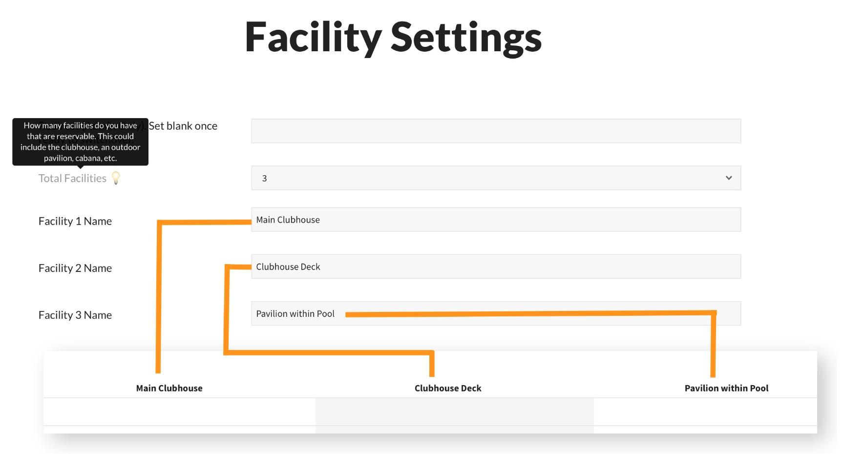 pooldues facilities setup settings basic