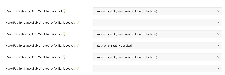 pooldues facility facilities settings limit