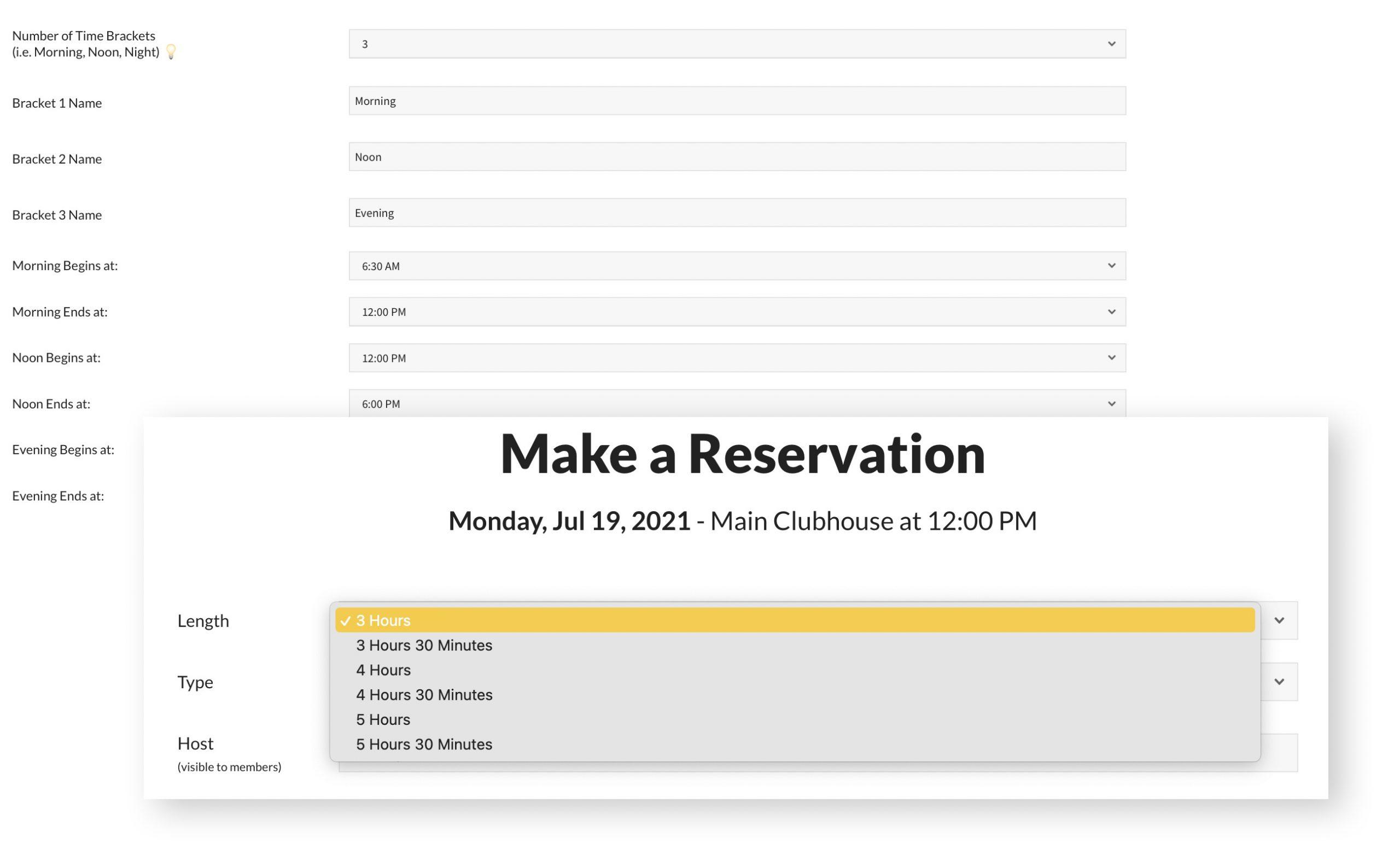pooldues facility facilites settings time bracket reservation member