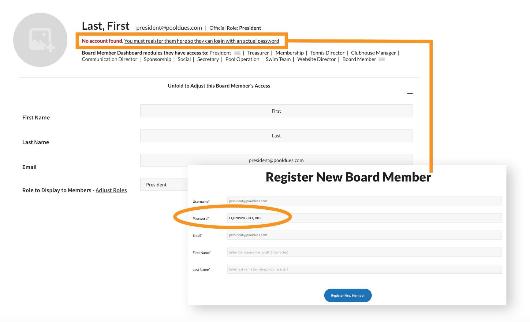 pooldues register board member markup