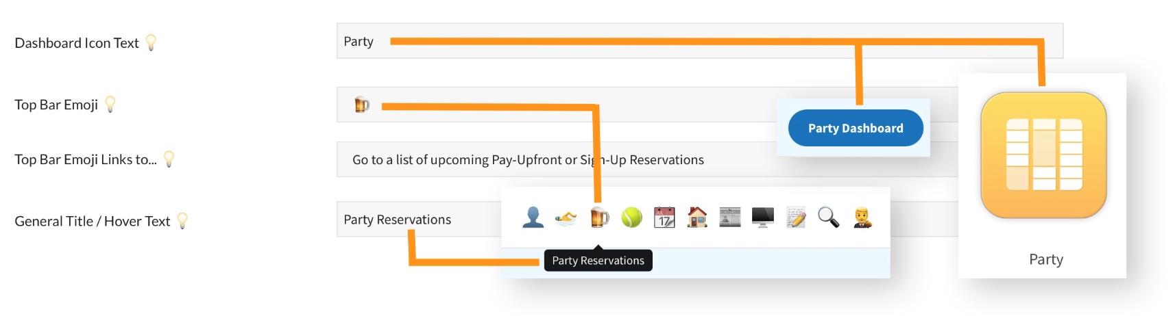 pooldues top bar dashboard settings grid reservation