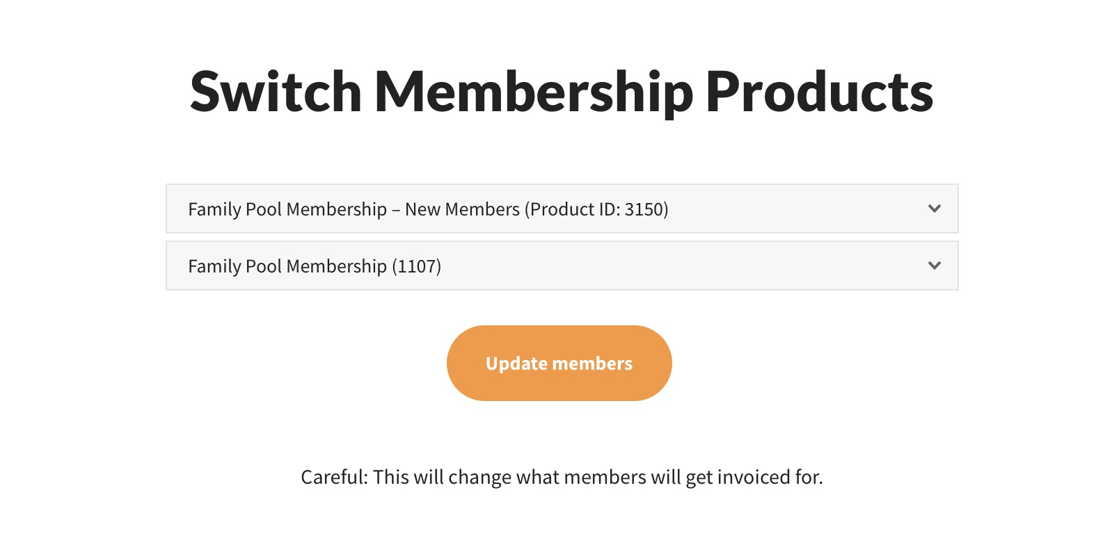 swim tennis software change membership products